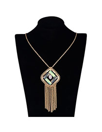Vintage Yellow Long Tassel&square Shape Pendant Decorated Simple Design Alloy Chains