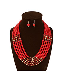 Ethnic Red Pure Color Decorated Multilayer Design Acrylic Jewelry Sets