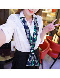 Retro Dark Blue Cartoon Girl Pattern Decorated Duplex Design  Imitated Silk Fabric Thin Scaves