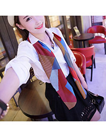 Fashion Blue+red Geometry Pattern Decorated Duplex Design  Imitated Silk Fabric Thin Scaves