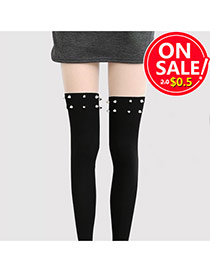 Retro Black Rivet Decorated Thigh-high Design