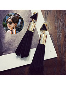Sweet Black Triangle Shape Decorated Tassel Design Fabric Stud Earrings