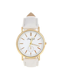 Exquisite White Letter Pattern Decorated Pure Color Design  Pu Ladies Watches
