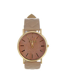 Fashion Khaki Grid Strap Decorated Pure Color Design  Pu Ladies Watches