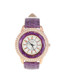 Elegant Purple Diamond Decorated Pure Color Design