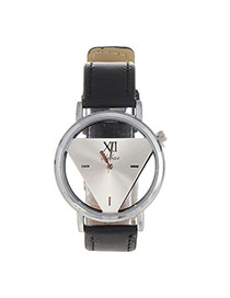 Fashion Silver Color Triangle Shape Decorated Pure Color Design  Pu Ladies Watches