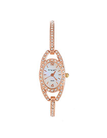 Exquisite Gold Color Diamond Decorated Circle Matching Design  Alloy Ladies Watches