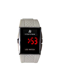 Personality White Led Display Square Shape Case Design Plastic Men's Watches