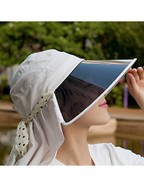 Trending Beige Bowknot Decorated Large Brim Lenses Design(rondom Color Straps)  Fabric Sun Hats