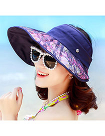 Trending Navy Blue Flower Pattern&lence Decorated Large Brim Folding Design(rondom Color Straps)  Fabric Sun Hats