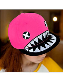 Fashion Plum Red Embroidered Shark Pattern Simple Design