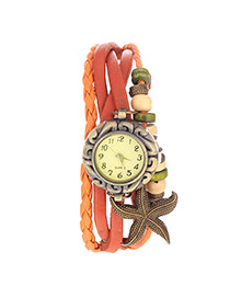 vintage Orange Starfish Shape Decorated Multilayer Design Pu Ladies Watches