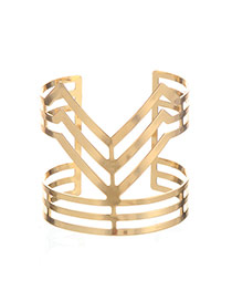 Vintage Gold Color Hollow Out Geometric Shape Decorated Opening Design Alloy Fashion Bangles