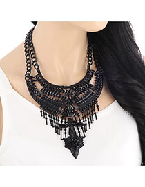 Vintage Black Hollow Out Tassel Pendant Decorated Double Layer Chains Design Alloy Bib Necklaces