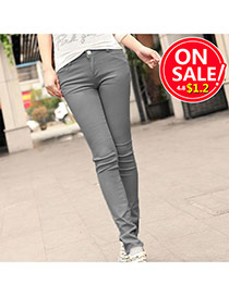 Fashion Gray Candy Color Slim Design Fabric Trousers