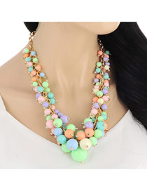 Temperament Multi-color Beads Hand-woven Decorated Simple Design Alloy Bib Necklaces
