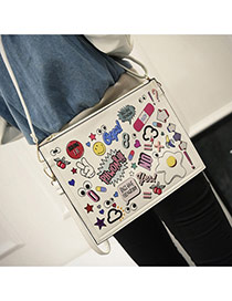 Trendy White Scrawl Pattern Decorated Big Square Design Pu Shoulder bags