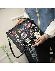 Trendy Black Scrawl Pattern Decorated Big Square Design Pu Shoulder bags