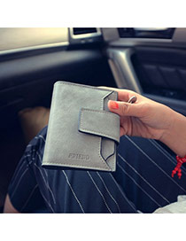 Fashion Gray Letter Pattern Decorated Square Shape Design Pu Wallet
