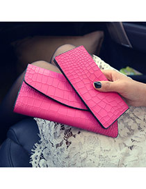 Trendy Plum Red Alligator Pattern Decorated Long Shape Design Pu Wallet