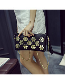 Trendy Black Rivet Flower Decorated Metal Chain Design Pu Wallet