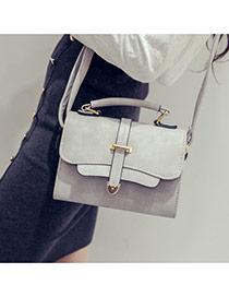 trendy Gray Metal Button Decorated Square Design Pu Handbags