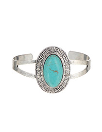 Retro Silver Color Oval Stone Decorated Opening Design