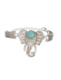 Retro Silver Color Elephant Shape Decorated Simple Design Alloy Fashion Bangles