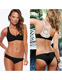 Sexy Black Pure Color Crocheted Flower Pattern Decorated Simple Design Polyester Sexy Bikini