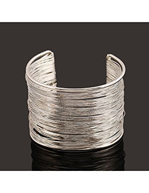 Trending Silver Color Metal Wire Decorated Multilayer Opening Design