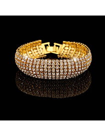 Luxury Gold Color Full Diamond Decorated Simple Design Alloy Fashion Bangles