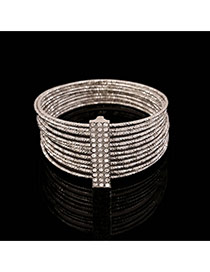 Trending Silver Color Diamond Decorated Multilayer Design Alloy Fashion Bangles