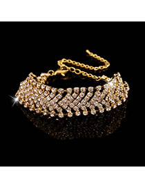 Luxury Gold Color Diamond Decorated Simple Design Alloy Korean Fashion Bracelet