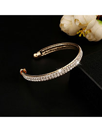 Trending Gold Color Double Layer Diamond Decorated Opening Design Alloy Fashion Bangles