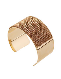 Trending Coffee Diamond Decorated Wide Openging Design Alloy Fashion Bangles