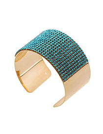 Trending Blue Diamond Decorated Wide Openging Design Alloy Fashion Bangles