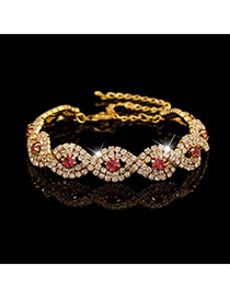Luxury Gold Color+pink Diamond Decorated Twining Design Alloy Korean Fashion Bracelet