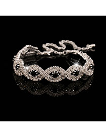 Luxury Silver Color+black Diamond Decorated Twining Design Alloy Korean Fashion Bracelet
