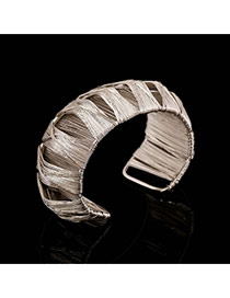 Trending Silver Color Metal Wire Decorated Weave Hollow Out Opening Design Alloy Fashion Bangles