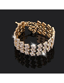 Trending Gold Color Square Diamond Decorated Multilayer Design Alloy Korean Fashion Bracelet