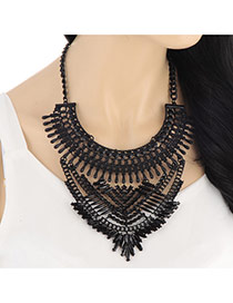 Exaggerated Black Pure Color Hollow Out Multilayer Design