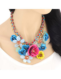 Vintage Multi-color Flower Pendant Decorated Simple Design Alloy Bib Necklaces
