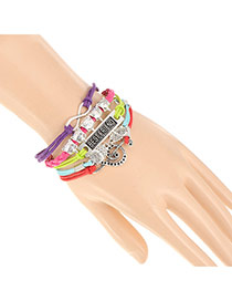 Vintage Multi-color Owl&note Decorated Multilayer Design Alloy Korean Fashion Bracelet