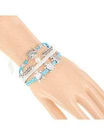 Vintage White+blue Sea Horse&tortoise Decorated Multilayer Design Alloy Korean Fashion Bracelet