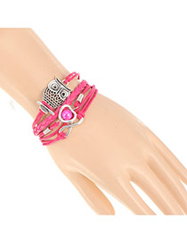 Vintage Plum Red Owl&heart Shape Decorated Multilayer Design Alloy Korean Fashion Bracelet