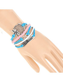 Trendy Blue+pink Hollow Out Owl&believe Letter Decorated Multilayer Design Alloy Korean Fashion Bracelet