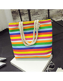 Fashion Multi-color Stripe Pattern Decorated Simple Design Beach Bag