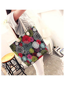 Vintage Black Big Flower Pattern Decorated Simple Design Beach Bag