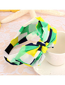 Sweet Yellow+green Geometric Shape Pattern Decorated Double Bowknot Design