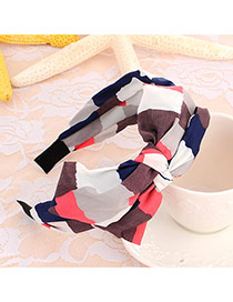 Sweet Red+navy Blue Geometric Shape Pattern Decorated Double Bowknot Design Fabric Hair band hair hoop